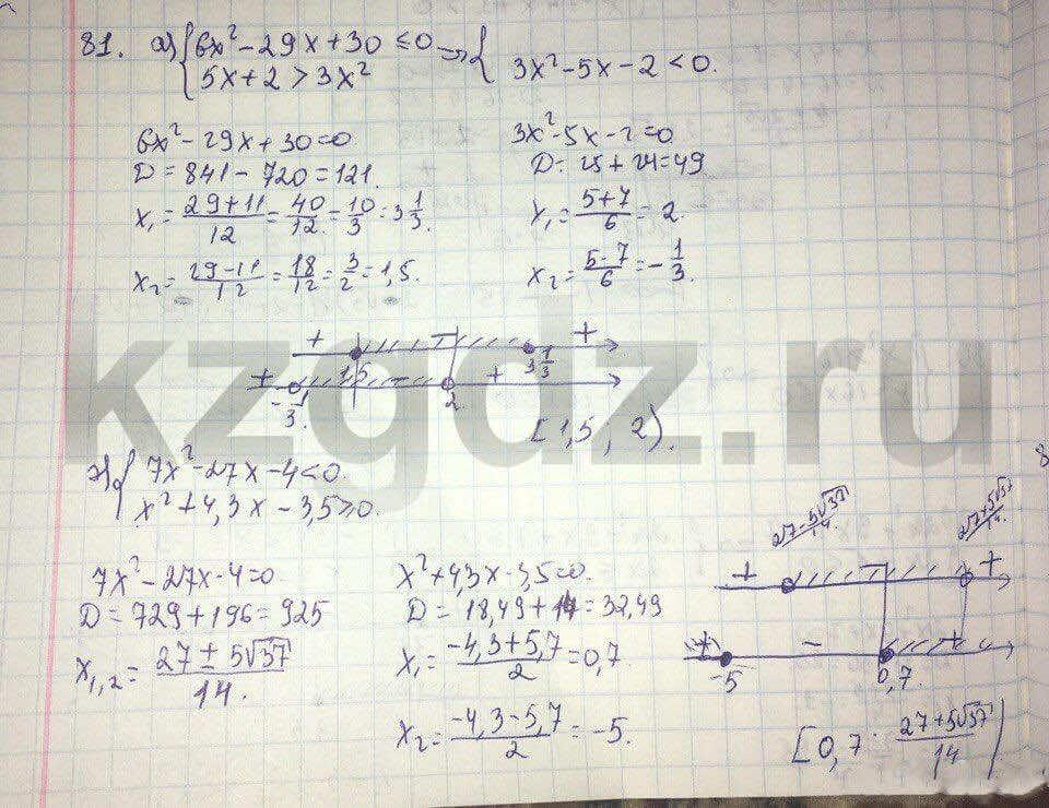 Алгебра Абылкасымова 9 класс  Упражнение 81