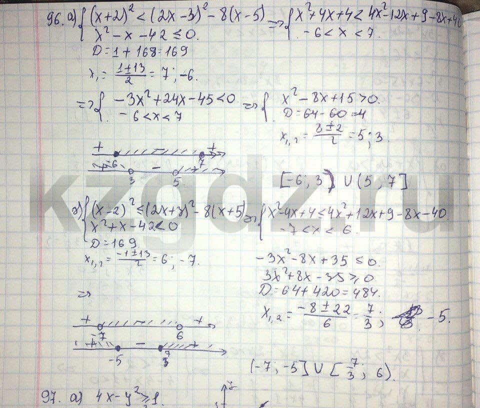 Алгебра Абылкасымова 9 класс  Упражнение 96