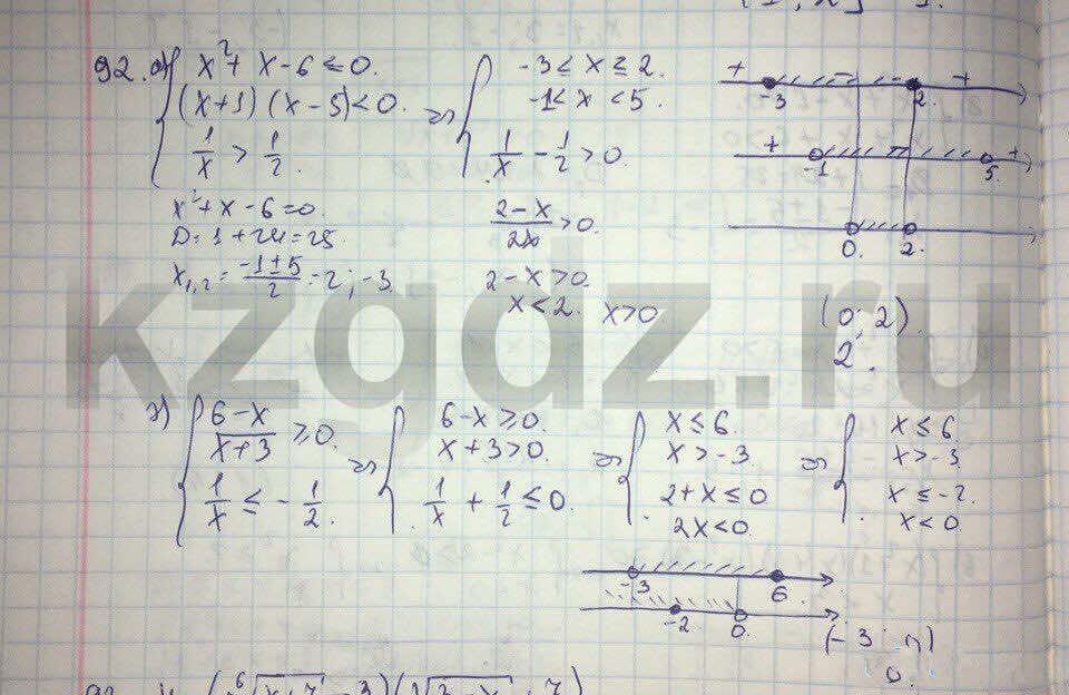 Алгебра Абылкасымова 9 класс  Упражнение 92