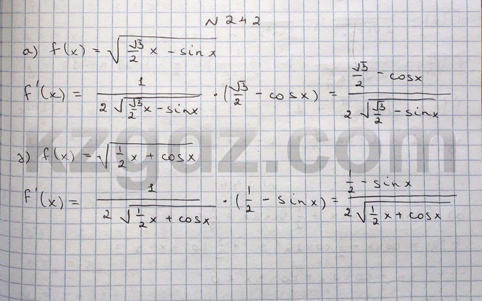 Алгебра Абылкасымова 10 класс Естественно-математическое направление  Упражнение 242
