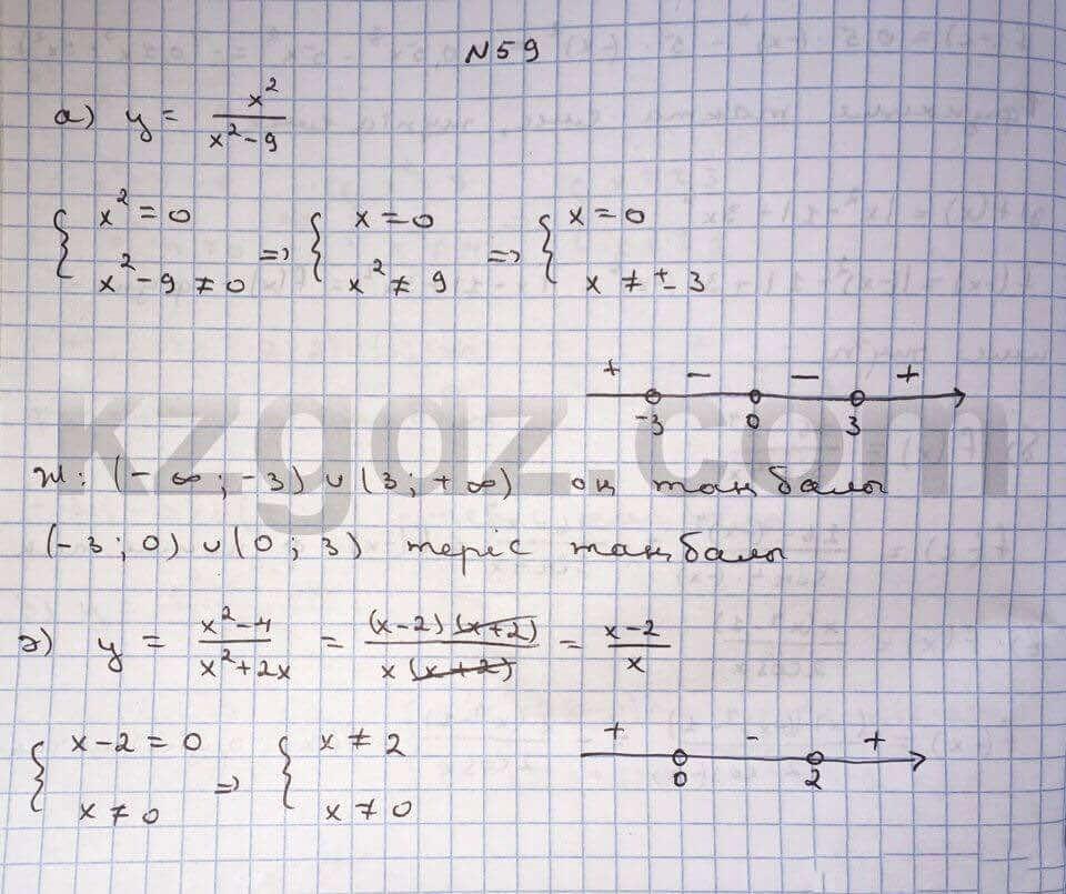 Алгебра Абылкасымова 10 класс Естественно-математическое направление  Упражнение 59
