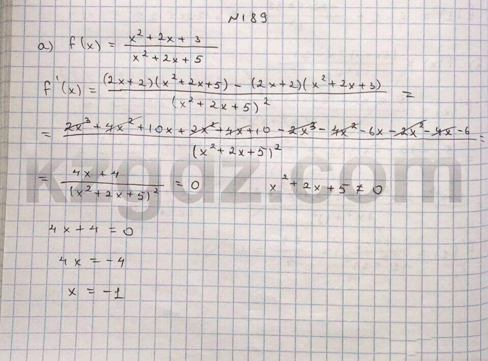 Алгебра Абылкасымова 10 класс Естественно-математическое направление  Упражнение 189