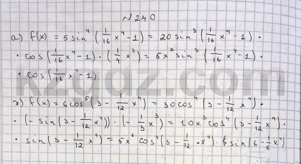 Алгебра Абылкасымова 10 класс Естественно-математическое направление  Упражнение 240