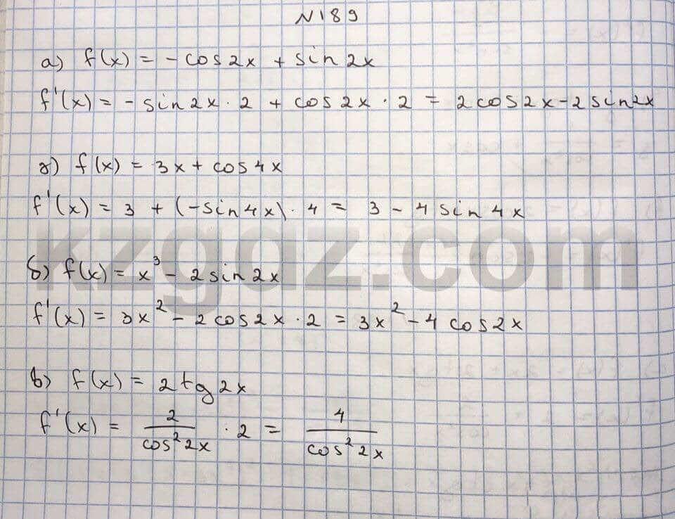 Алгебра Абылкасымова 10 класс Общетвенно-гуманитарное направление  Упражнение 189